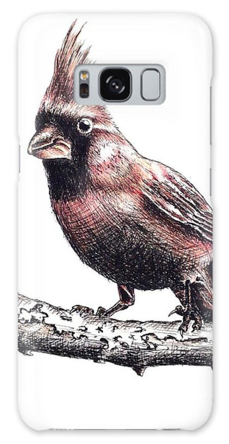 Ink Sketch Galaxy S8 Case featuring the drawing Cardinal Male by Katharina Filus