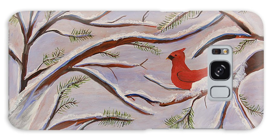 Cardinal Galaxy S8 Case featuring the painting Cardinal by Margaret Pappas