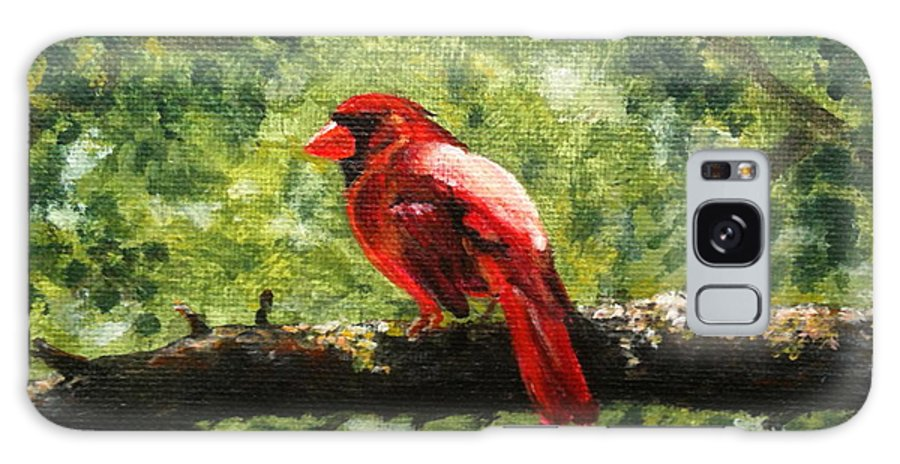 Cardinal Galaxy S8 Case featuring the painting Cardinal by Nancy Chenet