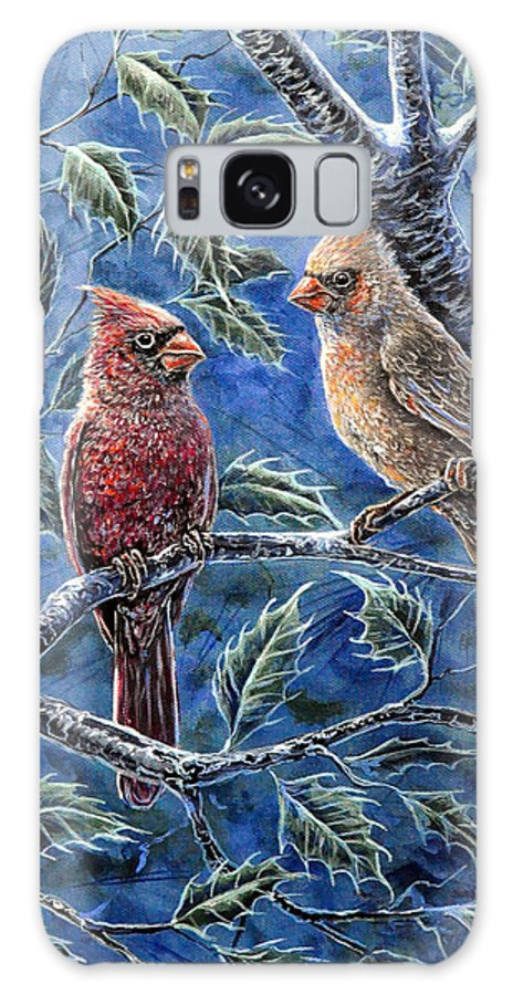 Animal Nature Bird Cardinal Holly Red Blue Green Galaxy S8 Case featuring the painting Cardinals And Holly by Gail Butler