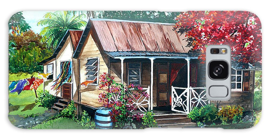 House Painting Caribbean Painting Tropical Painting West Indian Painting Old House Painting Flamboyant Tree Painting Poinciana Painting Red Painting Mango Tree Painting Watercolor Painting Greeting Card Painting Galaxy Case featuring the painting Caribbean Life by Karin Dawn Kelshall- Best