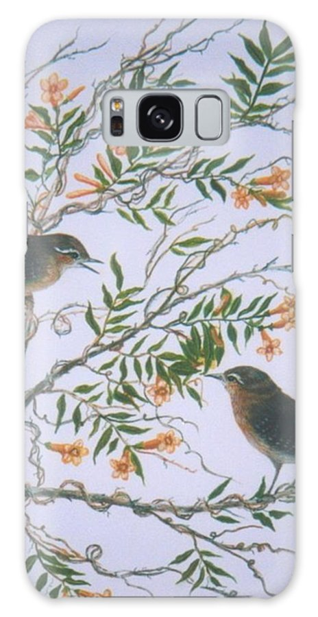 Bird; Flowers Galaxy Case featuring the painting Carolina Wren and jasmine by Ben Kiger