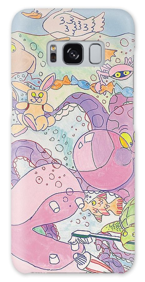 Swan Galaxy S8 Case featuring the painting Cartoon Sea Creatures by Mike Jory