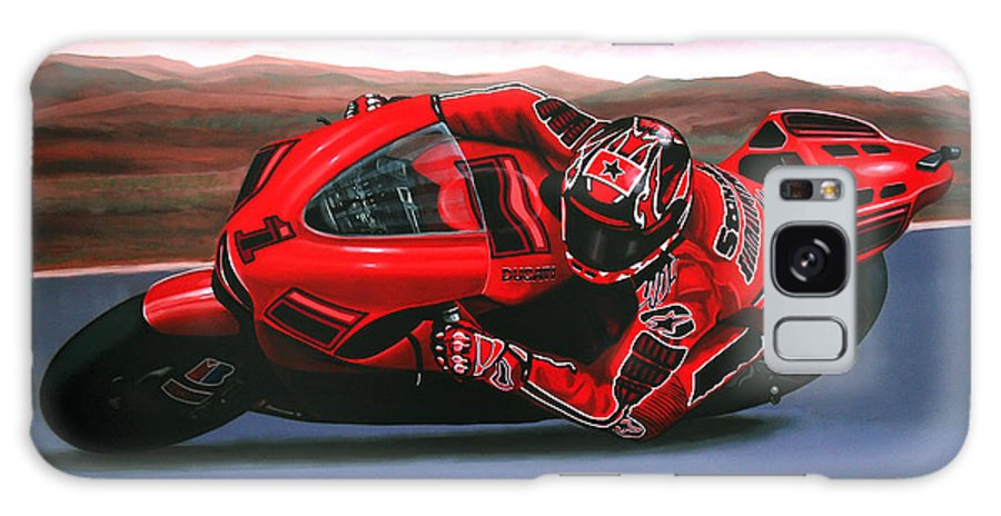 Casey Stoner On Ducati Galaxy S8 Case featuring the painting Casey Stoner On Ducati by Paul Meijering