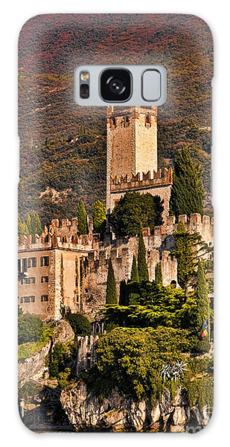 Lake Galaxy S8 Case featuring the photograph Sunset On The Castle On Lake Garda Italy by Brenda Kean