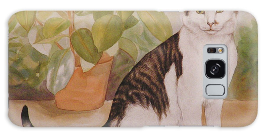 Cat Galaxy S8 Case featuring the painting Cat With Plant by Gail Dolphin