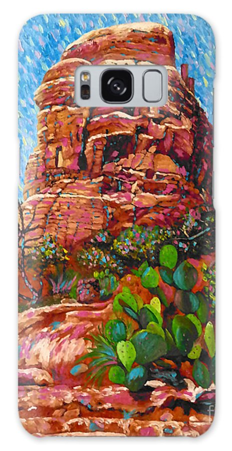 Rock Galaxy S8 Case featuring the painting Cathedral Rock by Francesca Kee