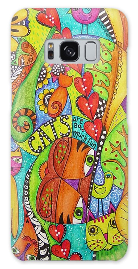 Cats Galaxy S8 Case featuring the drawing Cats Are Sooo Much Fun by Madeleine De Kemp