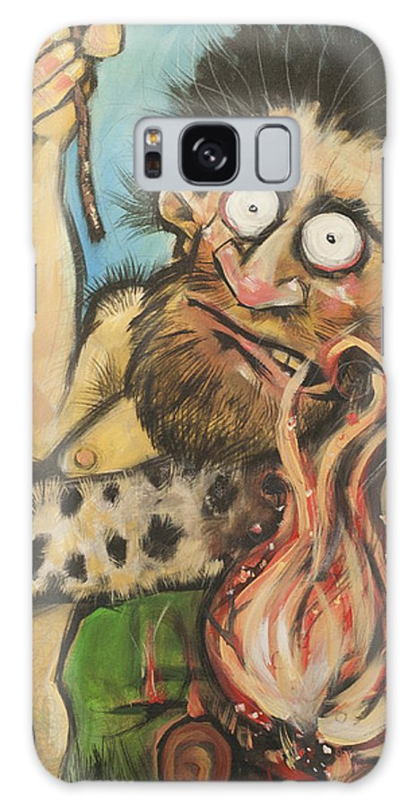 Steak Galaxy S8 Case featuring the painting Caveman And Fire by Tim Nyberg