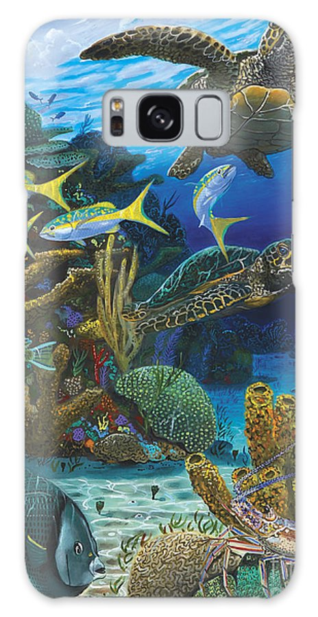 Turtle Galaxy S8 Case featuring the painting Cayman Turtles Re0010 by Carey Chen
