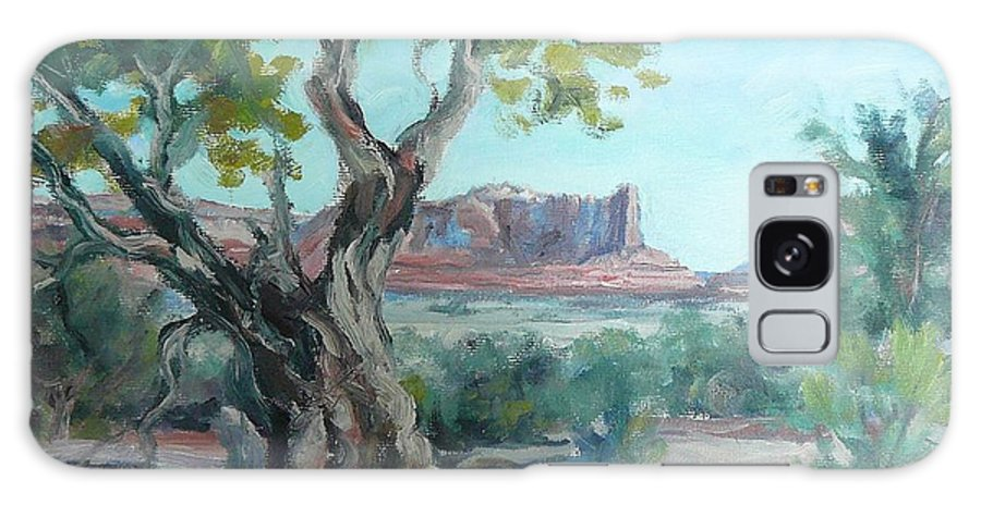 Landscape Painting - Original Oil Painting Artwork; Art Of Lynn T Bright; Galaxy S8 Case featuring the painting Cedar At Monument Valley by Lynn T Bright