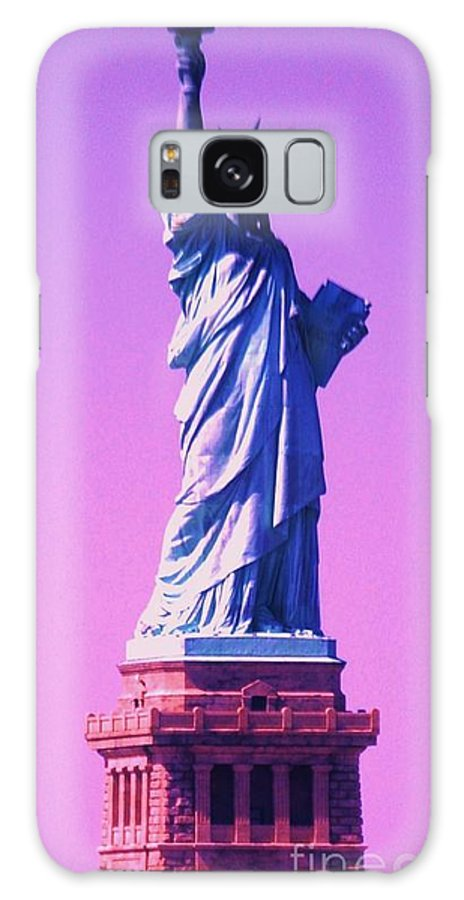 Statue Of Liberty Photography New York Photography Manipulated Photography Iconic Image Photographjy Landmark Photography Surreal Photography Celebrating July 4 Metal Frame Suggested Greeting Card Phone Case Art Galaxy S8 Case featuring the photograph Celebrating Liberty 1 by Marcus Dagan