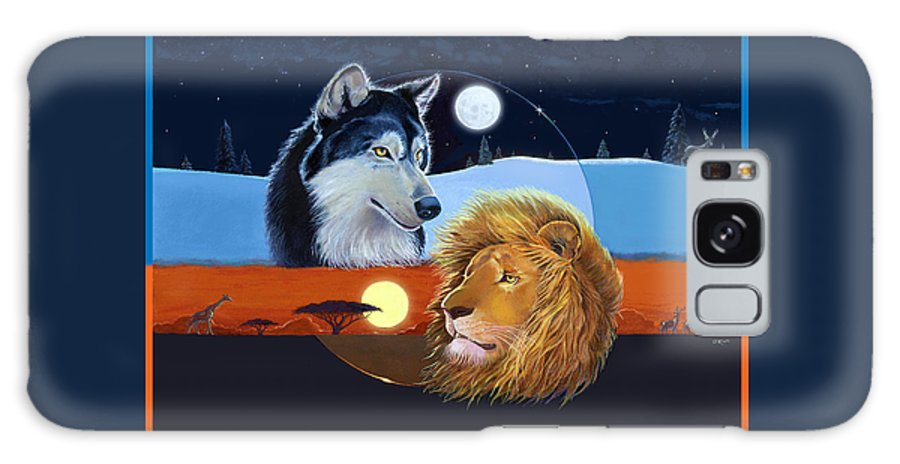 Wolf Galaxy Case featuring the mixed media Celestial Kings by J L Meadows