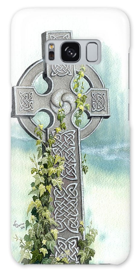 Celtic Cross Galaxy S8 Case featuring the painting Celtic Cross With Ivy II by Lynn Quinn