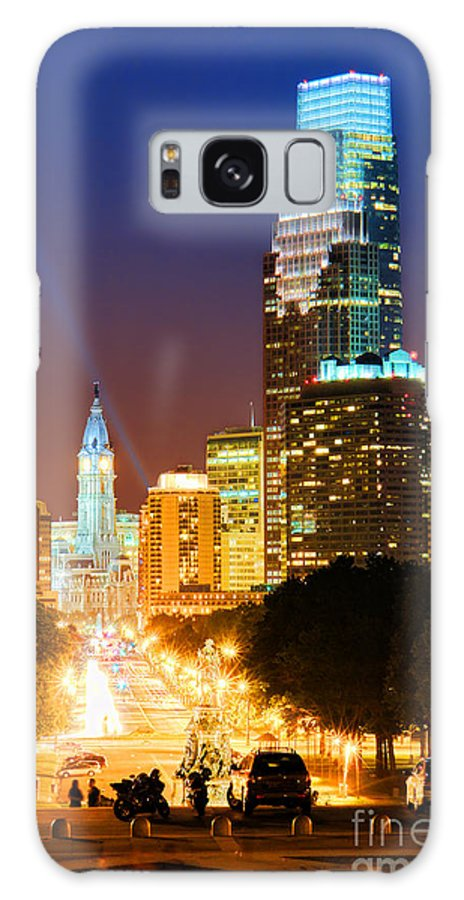Philadelphia Galaxy S8 Case featuring the photograph Center City Philadelphia Night by Olivier Le Queinec