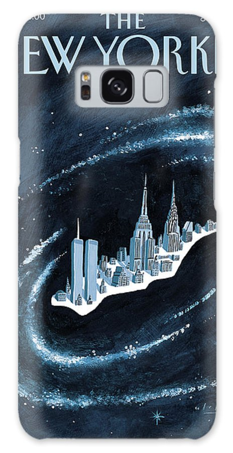 Center Of The Universe New York Manhattan Empire State Building Twin Towers Twintowers World Trade Center Wtc Chrysler Building Space Universe Milky Way Stars Outer Galaxy Cosmos Cosmic  Mark Ulriksen Mul Mul Artkey 51151 Galaxy S8 Case featuring the painting Center Of The Universe by Mark Ulriksen