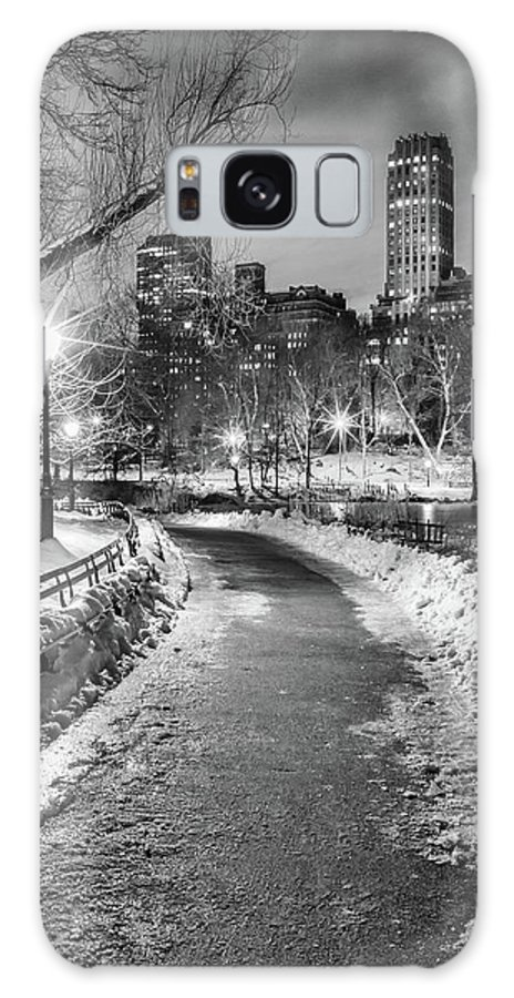 Snow Galaxy Case featuring the photograph Central Park Path Night Black & White by Michael Lee