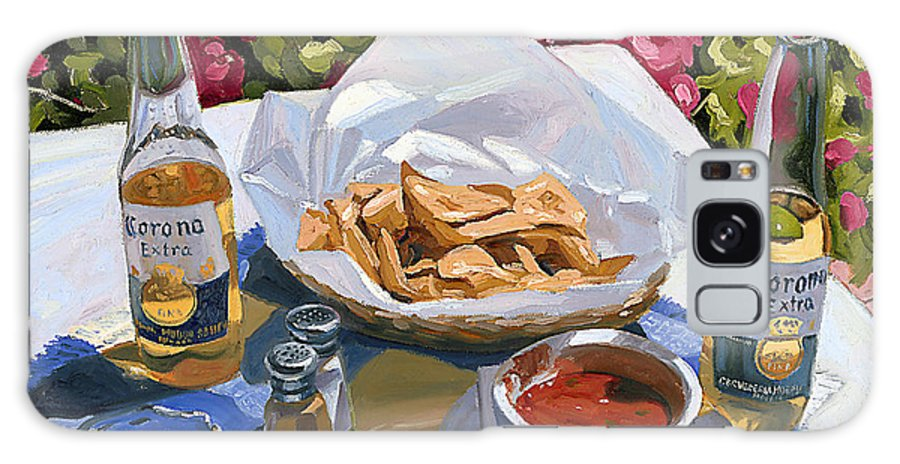 Beer Galaxy Case featuring the painting Cervezas Y Nachos - Coronas With Nachos by Steve Simon