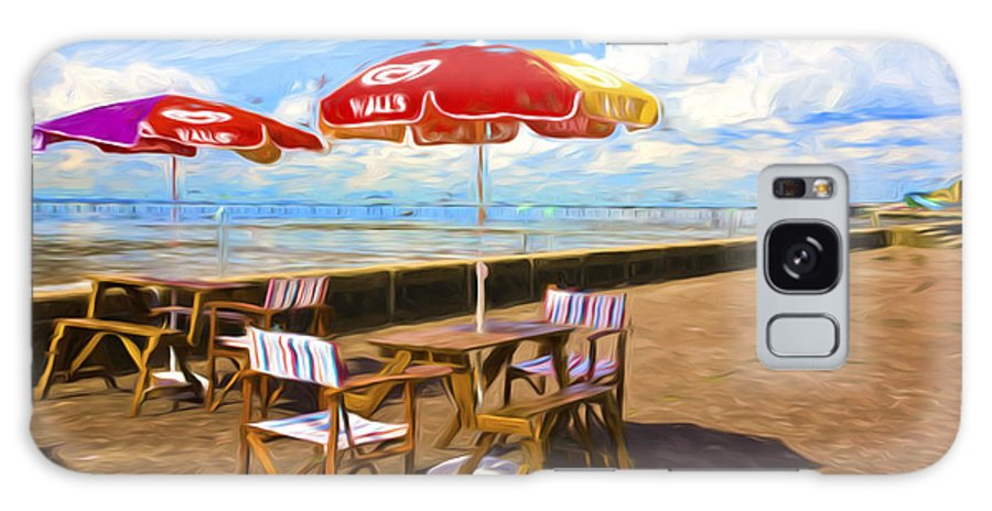 Southend On Sea Galaxy Case featuring the photograph Chairs and umbrellas at Southend on Sea by Sheila Smart Fine Art Photography