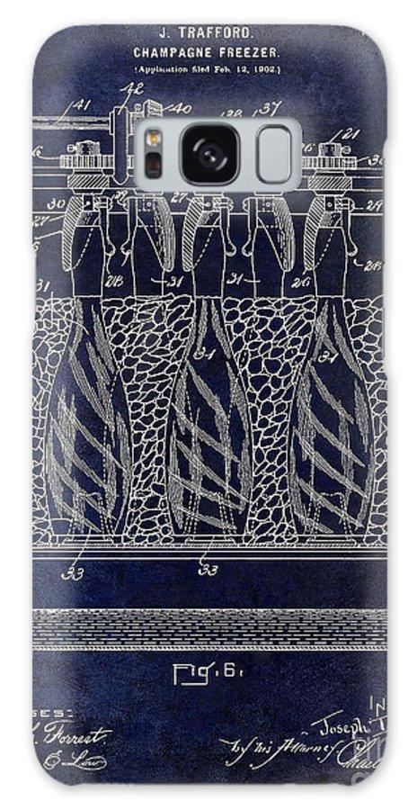 Patent Galaxy S8 Case featuring the photograph Champagne Bottle Freezer Patent 1902 Blue by Jon Neidert