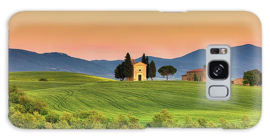 Roman Galaxy Case featuring the photograph Chapel Of Vitaleta In Tuscany, Val by Zodebala
