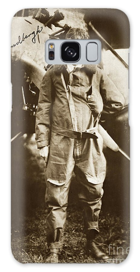 Charles A. Lindbergh Galaxy S8 Case featuring the photograph Charles A. Lindbergh And Spirit Of St. Louis May 12 1927 by California Views Archives Mr Pat Hathaway Archives