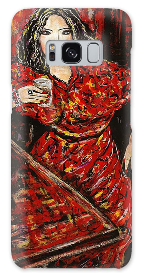 Woman Galaxy Case featuring the painting Cheers by Natalie Holland
