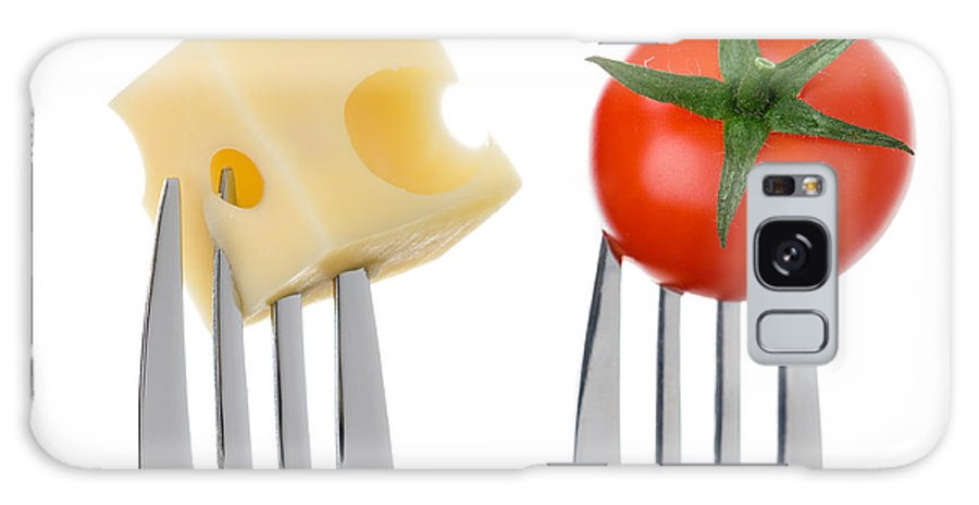 Cheese Galaxy S8 Case featuring the photograph Cheese And Tomato On Forks Against White by Lee Avison
