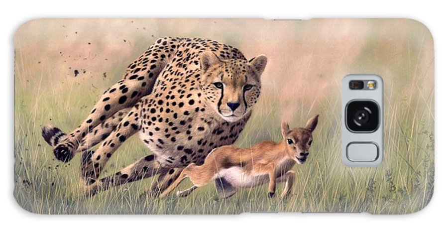 Cheetah Galaxy S8 Case featuring the painting Cheetah And Gazelle Painting by Rachel Stribbling
