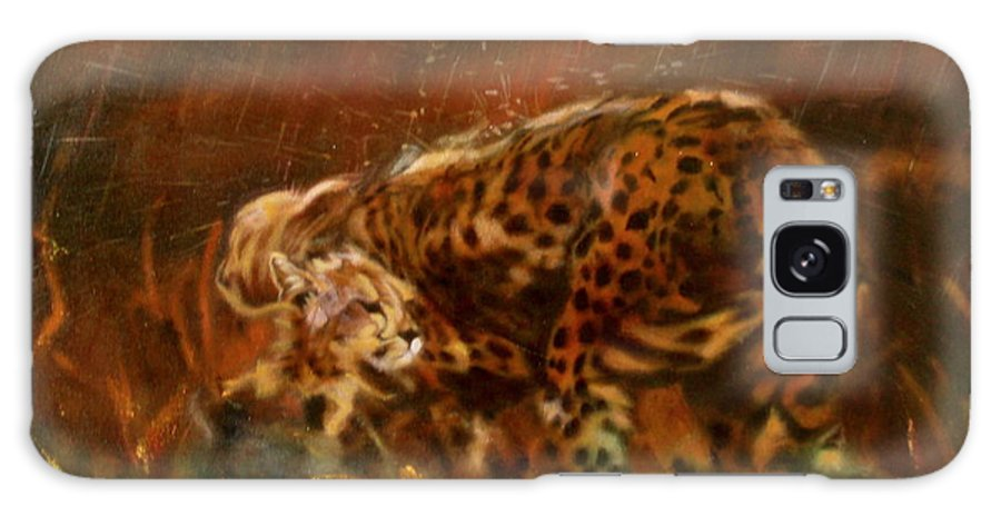 Rain;water;cats;africa;wildlife;animals;mother;shelter;brush;bush Galaxy Case featuring the painting Cheetah Family After The Rains by Sean Connolly