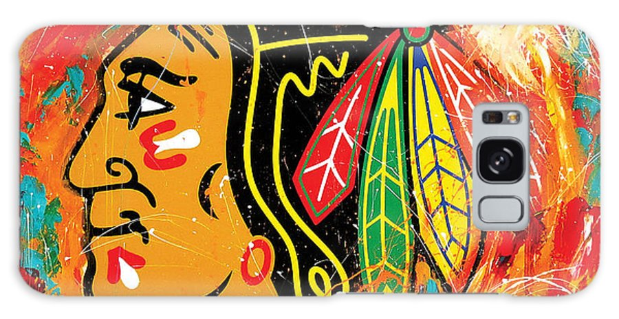 Sports Galaxy Case featuring the painting Chicago Blackhawks Logo by Elliott Aaron From