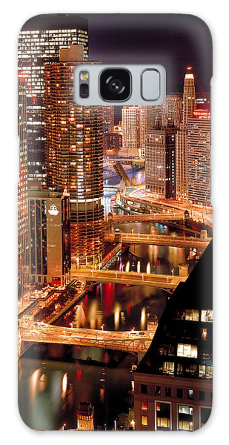 Chicago Galaxy S8 Case featuring the photograph Chicago River At Night by Thomas Firak