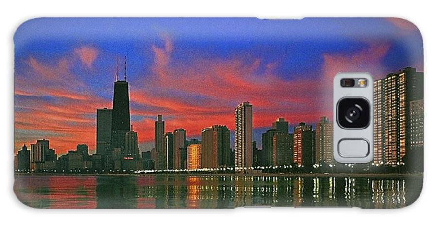 Chicago At Night Galaxy S8 Case featuring the photograph Chicago Skyline At Night by Ben Lavitt