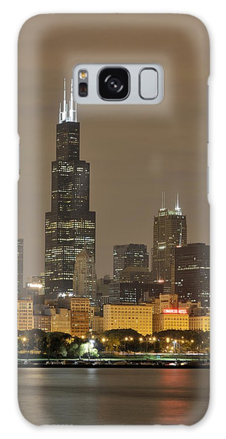 Chicago Skyline Galaxy S8 Case featuring the photograph Chicago Skyline At Night by Sebastian Musial