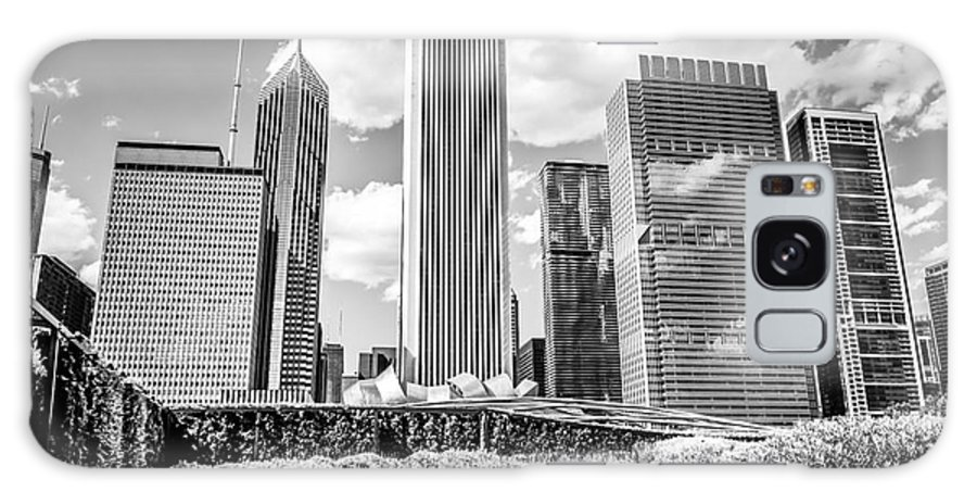America Galaxy S8 Case featuring the photograph Chicago Skyline Lurie Garden Black And White Picture by Paul Velgos