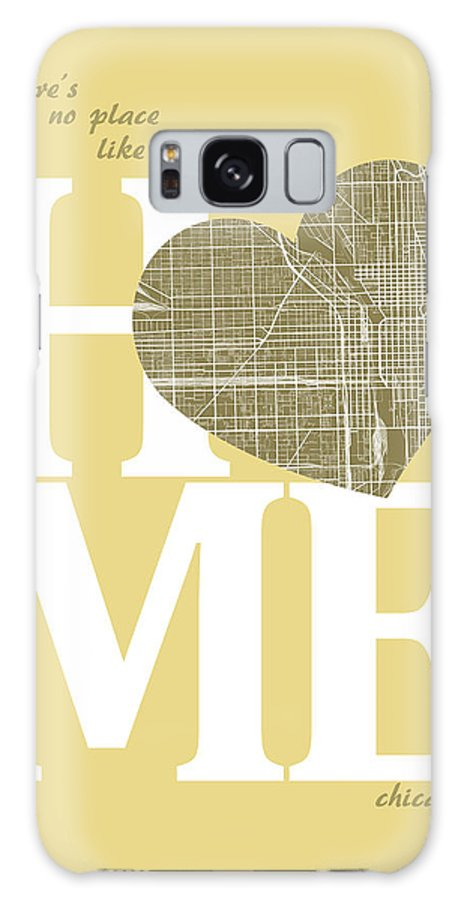 Road Map Galaxy S8 Case featuring the digital art Chicago Street Map Home Heart - Chicago Illinois Road Map In A H by Jurq Studio