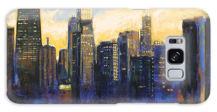 Chicago Skyline Galaxy S8 Case featuring the painting Chicago Sunset Looking South by Joseph Catanzaro
