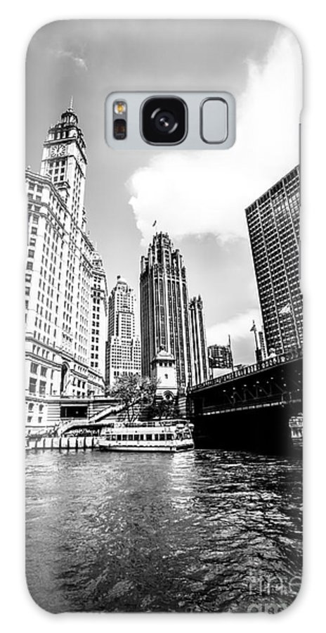 America Galaxy S8 Case featuring the photograph Chicago Wrigley Tribune Equitable Buildings Black And White Phot by Paul Velgos