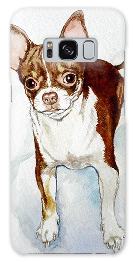 Dog Galaxy S8 Case featuring the painting Chihuahua White Chocolate Color. by Christopher Shellhammer