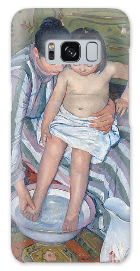 Childhood; Women In Art; Bath; Child; Mother; Impressionist; Interior; Girl; Jug; Washing; Motherhood; Love; Tenderness; Feet; Basin; Daughter; Impressionist Galaxy Case featuring the painting Child's Bath 1893 by Mary Stevenson Cassatt