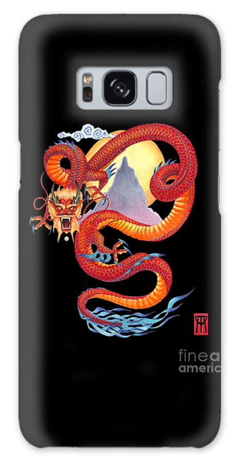 Dragon Galaxy S8 Case featuring the painting Chinese Dragon On Black by Melissa A Benson