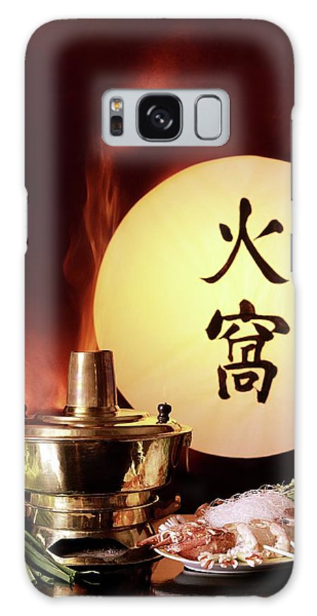 Food Galaxy S8 Case featuring the photograph Chinese Food Against A Backgroup Of Flames by Fotiades