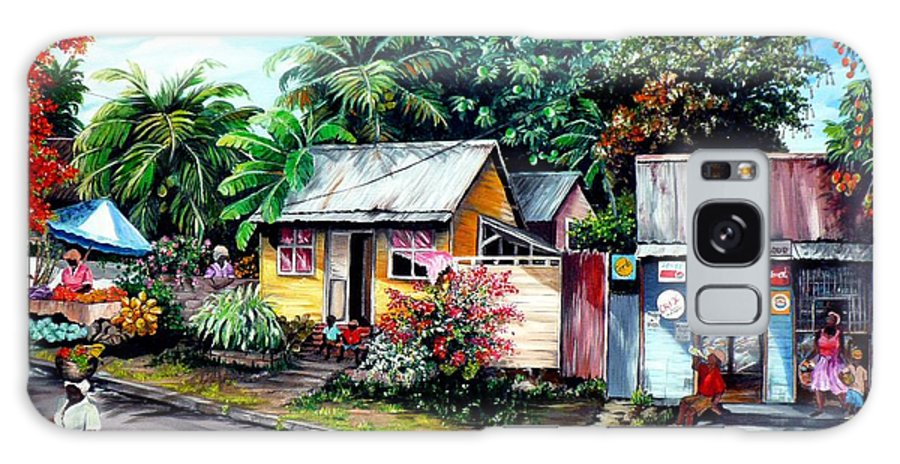 Landscape Painting Caribbean Painting Shop Trinidad Tobago Poinciana Painting Market Caribbean Market Painting Tropical Painting Galaxy S8 Case featuring the painting Chins Parlour   by Karin Dawn Kelshall- Best