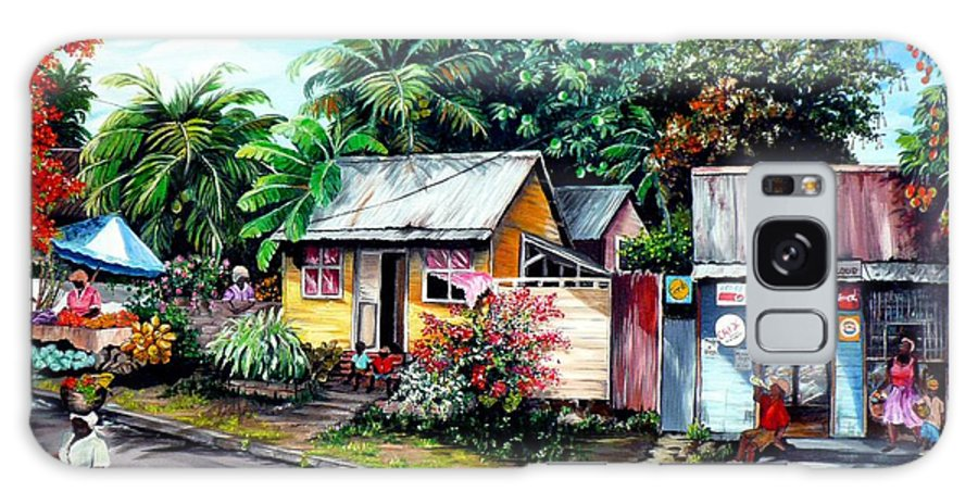 Landscape Painting Caribbean Painting Shop Trinidad Tobago Poinciana Painting Market Caribbean Market Painting Tropical Painting Galaxy Case featuring the painting Chins Parlour   by Karin Dawn Kelshall- Best