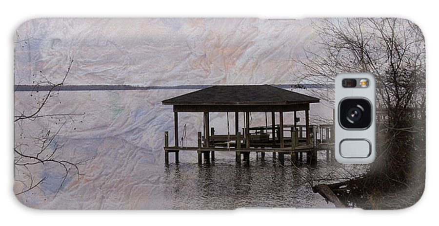 Pier Galaxy S8 Case featuring the photograph Chowan River Scene With Texture by Carolyn Ricks