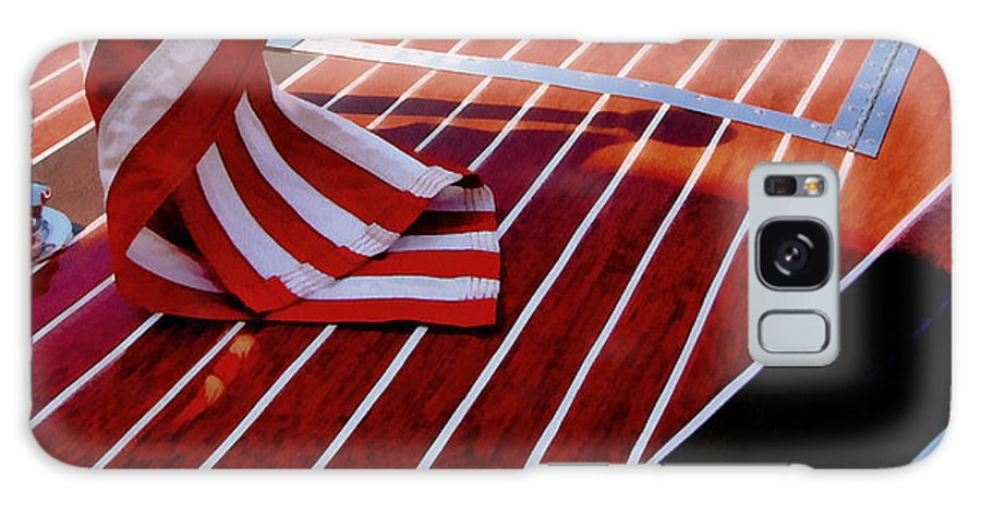Classic Boat Galaxy S8 Case featuring the photograph Chris Craft With American Flag by Michelle Calkins