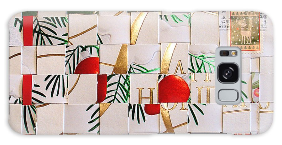 Christmas Galaxy Case featuring the mixed media Christmas Card Abstract by Steve Karol