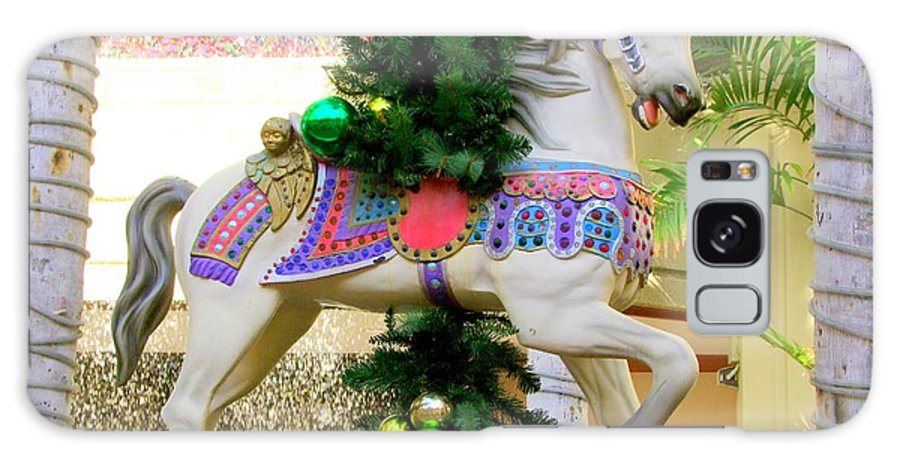 Carousel Galaxy S8 Case featuring the photograph Christmas Carousel Horse With Pine Branch by Mary Deal