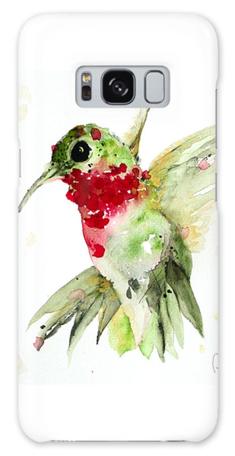 Hummingbird Watercolor Galaxy S8 Case featuring the painting Christmas Hummer by Dawn Derman
