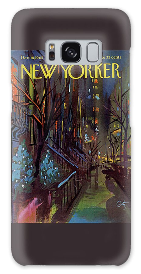 Christmas Galaxy Case featuring the painting Christmas In New York by Arthur Getz